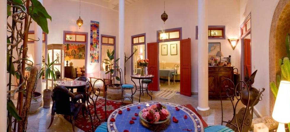 Maison d'hôtes de 7 chambres dans la médina d'Essaouira. Terrasse avec vue panoramique sur l'océan