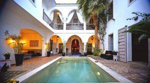Superbe riad avec 2 patios. 9 magnifiques chambres, piscine, hammam spa, grande terrasse, tout pour satisfaire sa clientèle